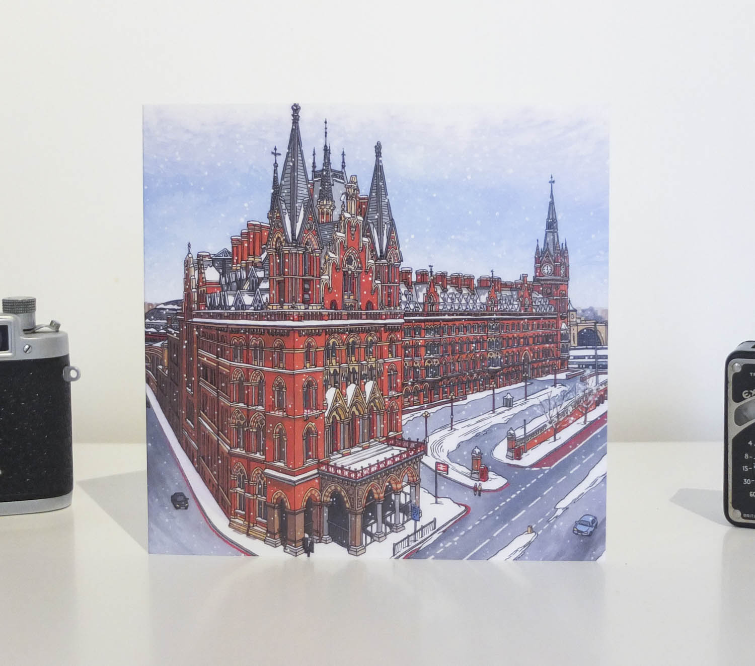 St Pancras Snowfall Greeting Card by Jonathan Chapman