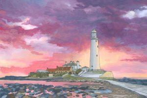 Sunset Over St Marys Lighthouse