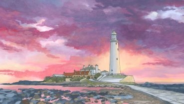 Sunset Over St Marys Lighthouse Whitley Bay - Illustration by Jonathan Chapman