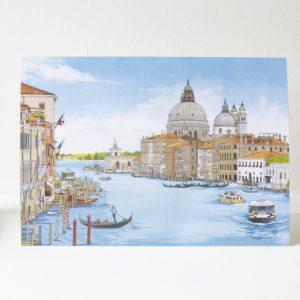 Grand Canal Venice Greeting Card - Illustration by Jonathan Chapman