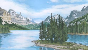 Spirit Island, Rocky Mountains, Canada - Illustration by Jonathan Chapman