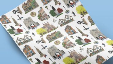 Winchester Wrapping Paper - Illustration by Jonathan Chapman