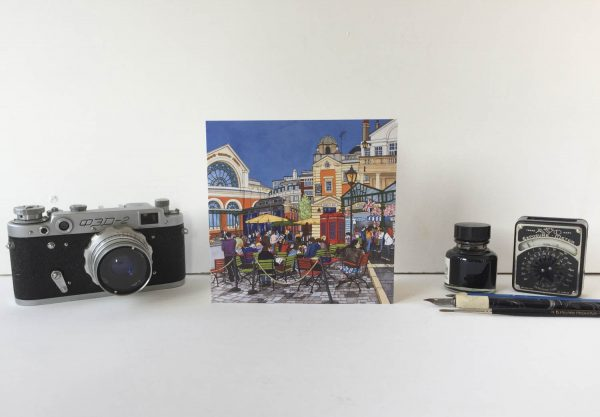Covent Garden Greeting Card - Illustration by Jonathan Chapman