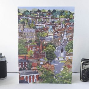 View From St Giles Hill Greeting Card - Illustration by Jonathan Chapman