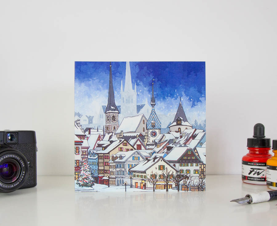 Snowfall Over Zug Greeting Card – Illustrated Stationery by Jonathan Chapman-22