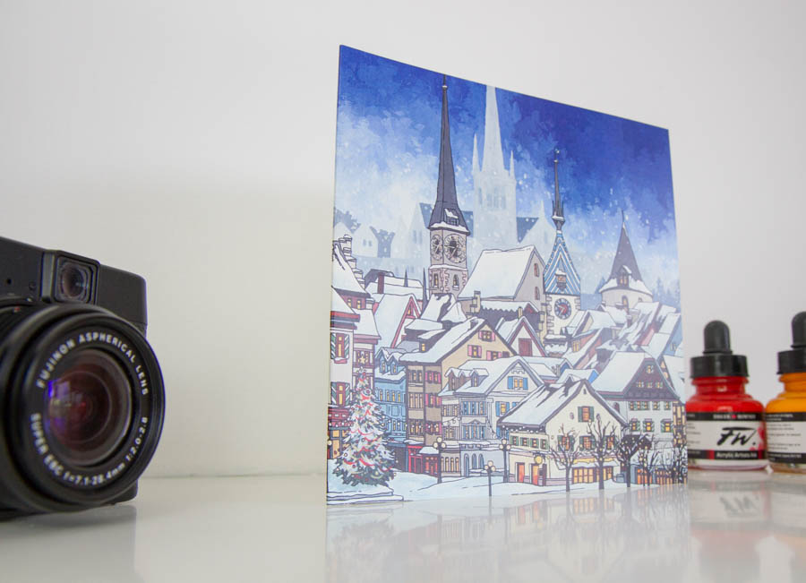 Snowfall Over Zug Greeting Card