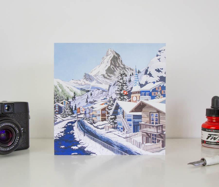 Matterhorn In Blue Greeting Card