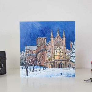 Winchester by Cathedral Light Greeting Card