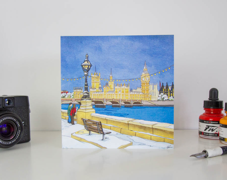 Westminister Walk Greeting Card – Illustrated Stationery by Jonathan Chapman-38