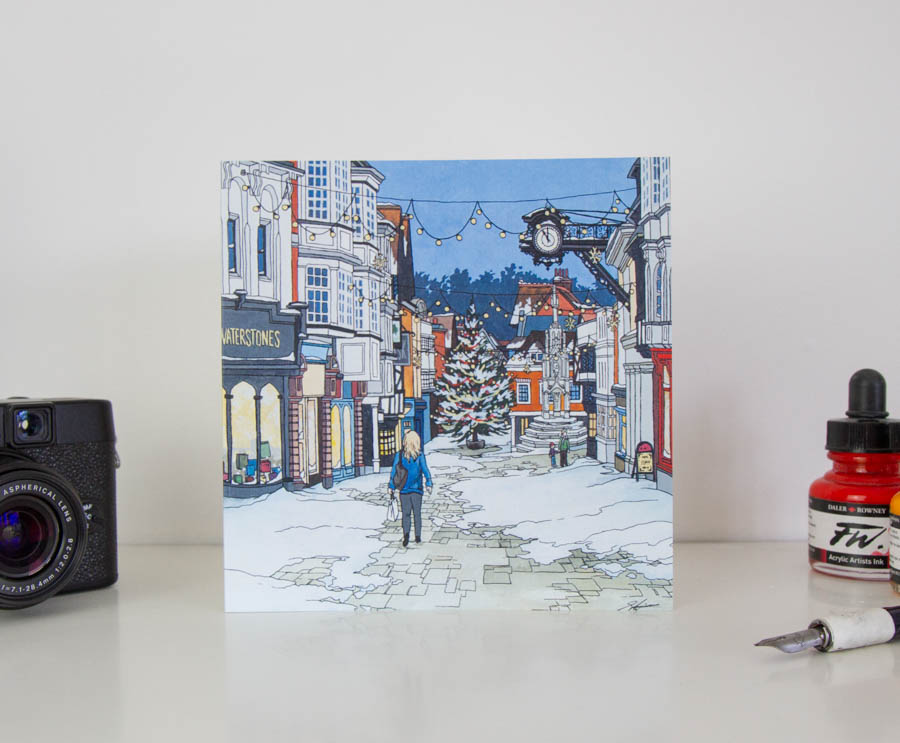 Snow on the High Street Greeting Card – Illustrated Stationery by Jonathan Chapman-44