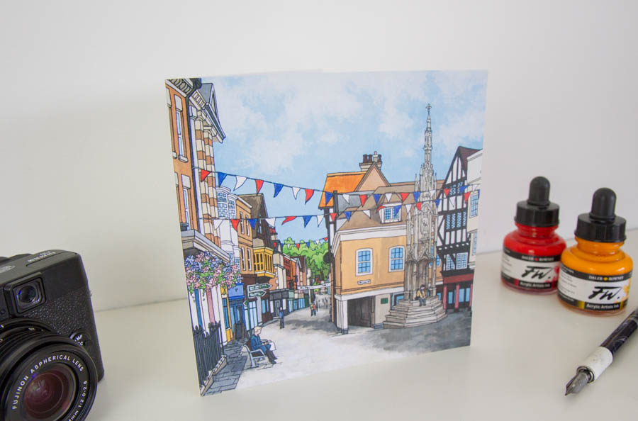 Buttercross and Bunting Greeting Card