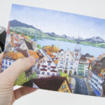 View Over Zug Greeting Card - Illustration by Jonathan Chapman