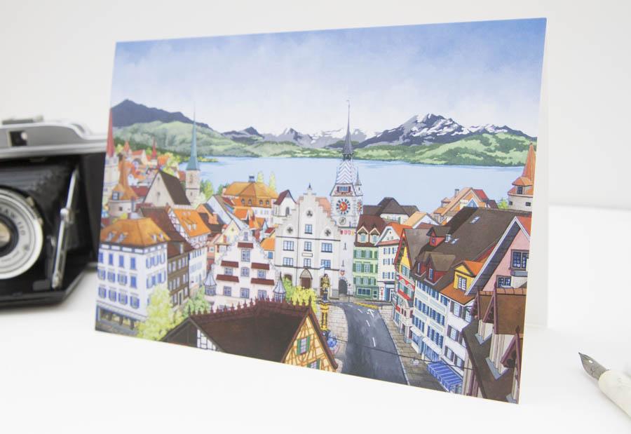 View Over Zug Greeting Card - Illustration by Jonathan Chapman