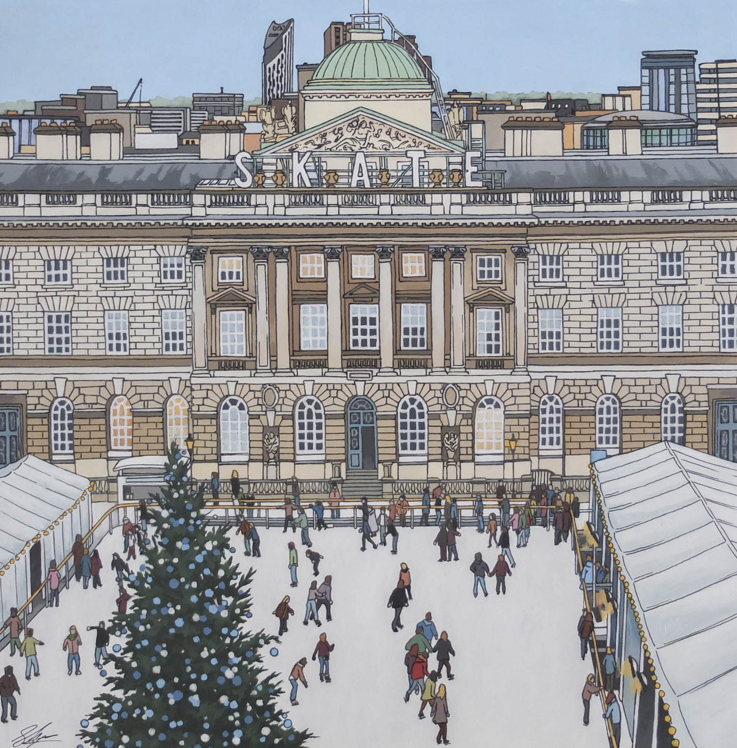 Skate Somerset House Painting by Jonathan Chapman