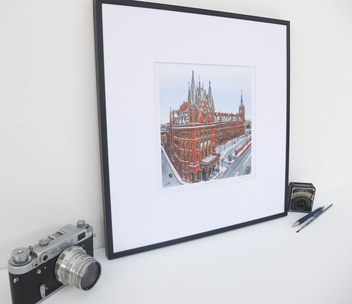St Pancras Snowfall Limited Edition Print by Jonathan Chapman