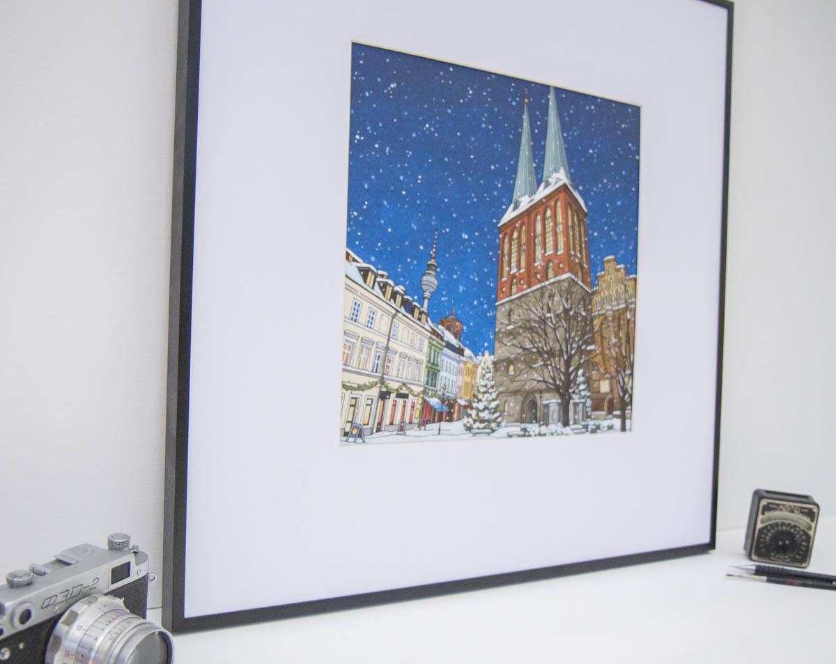 Nikolaiviertel original painting by Jonathan Chapman