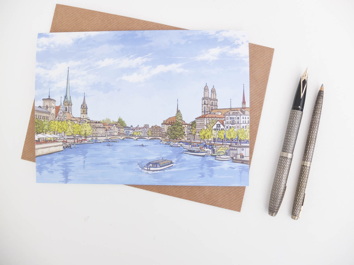 Zurich River View Greeting Card