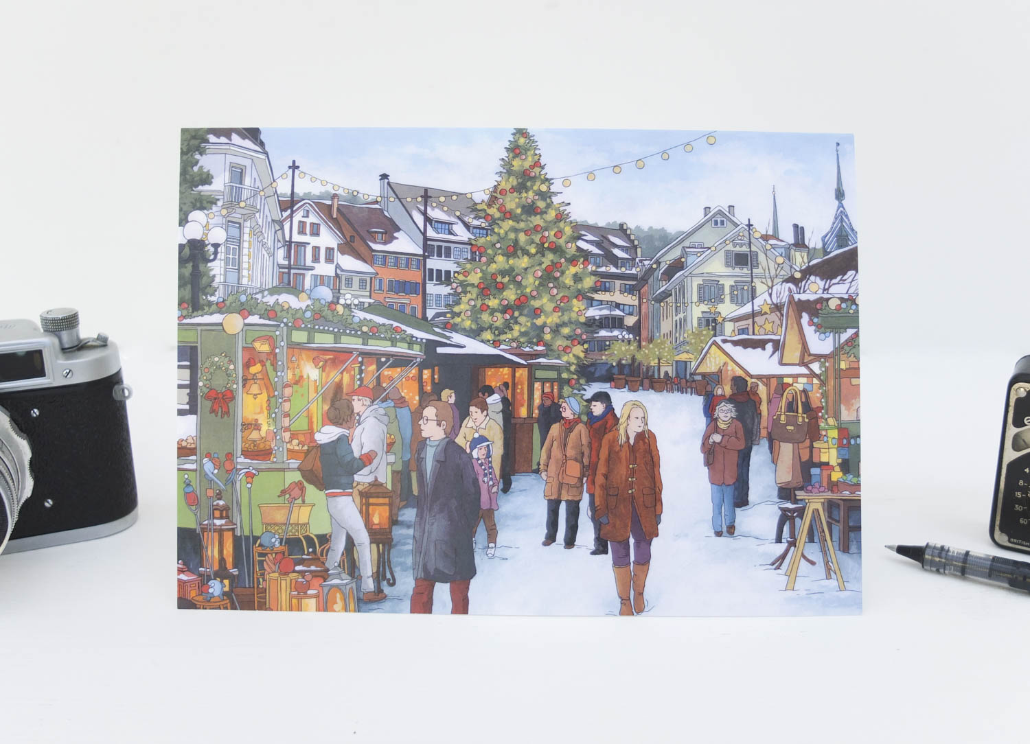 Christmas Market Zug Greeting Card by Jonathan Chapman-2