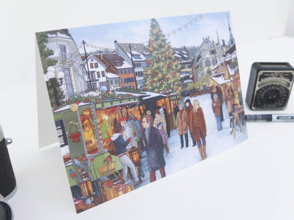 Christmas Market Zug Greeting Card