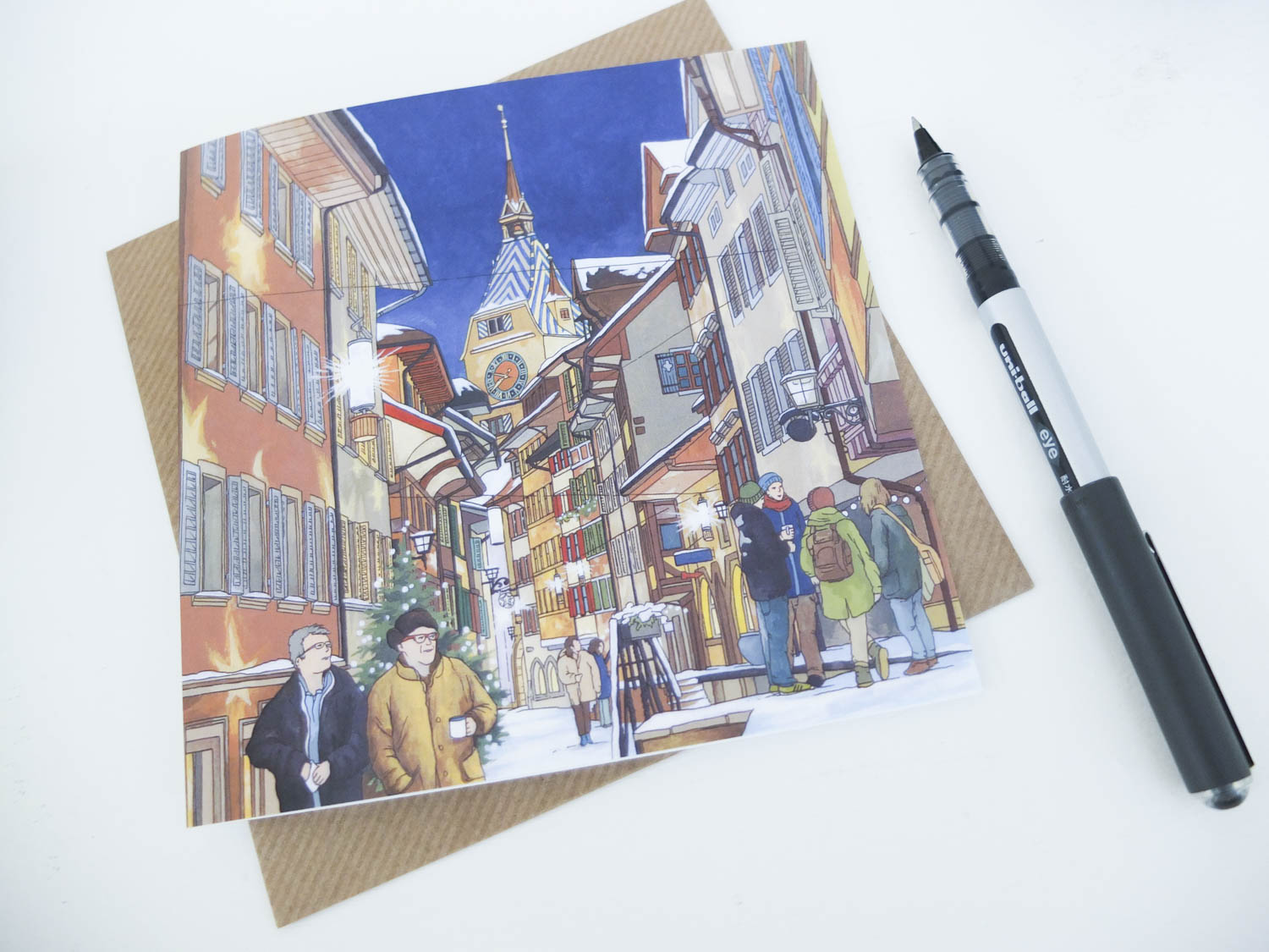 Starlight Altstadt Zug Greeting Card
