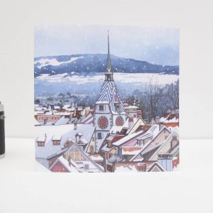 Zytturm Snowfall Greeting Card by Jonathan Chapman