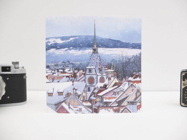 Zytturm Snowfall Greeting Card by Jonathan Chapman