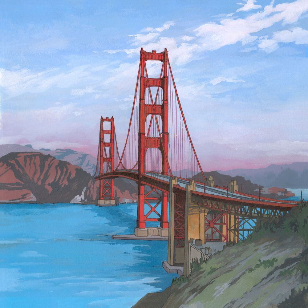 The Golden Gate Bridge San Francisco Orginal Pianting by Jonathan Chapman
