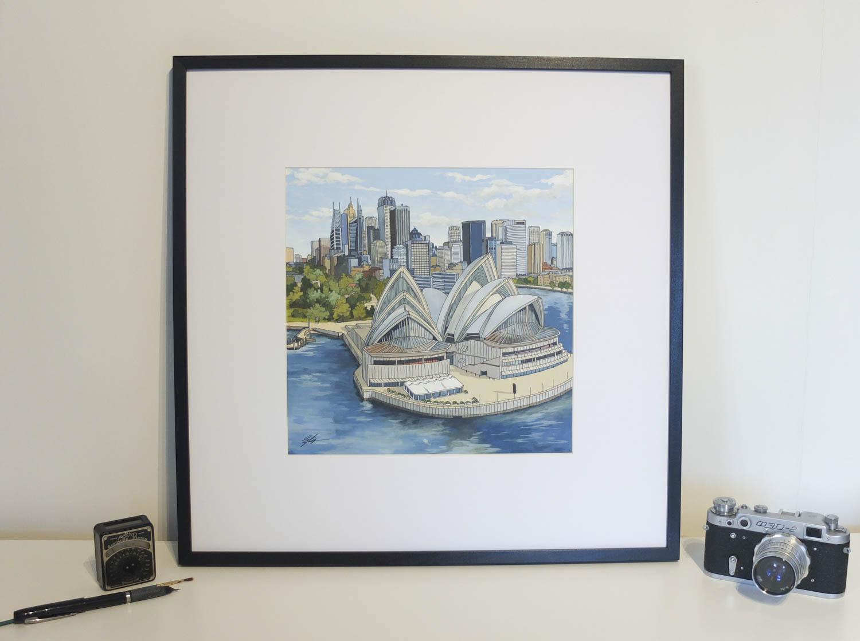 Sydney Opera House original painting by illustrator Jonathan Chapman