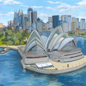 Sydney Opera House original painting by illustrator Jonathan Chapman