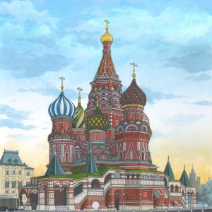 St Basils Cathedral Painting by Jonathan Chapman