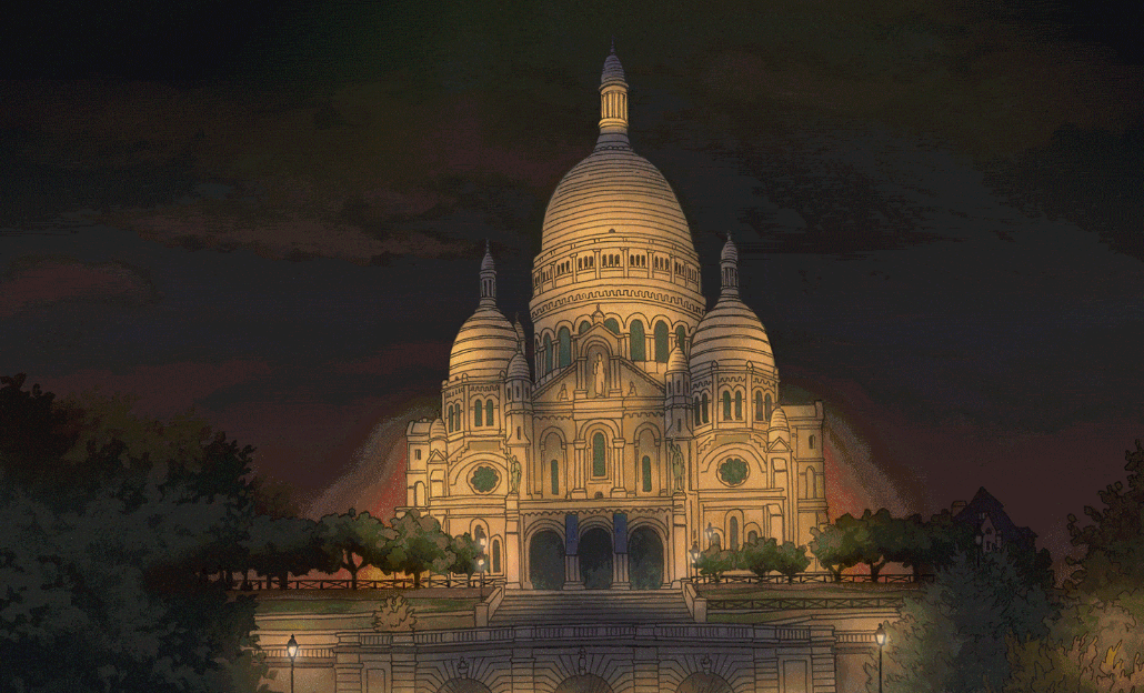 Paris Night and Day Animation, Illustration by Jonathan Chapman