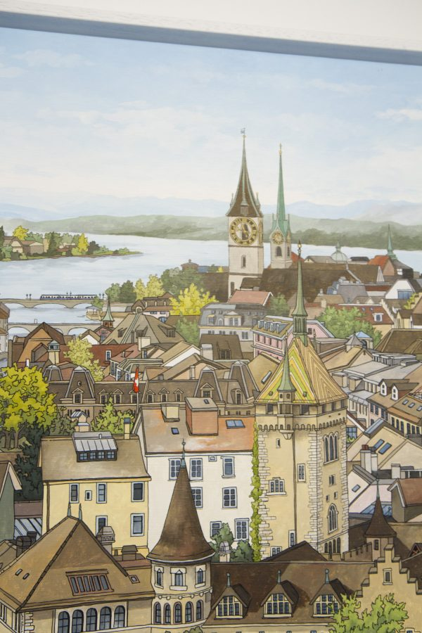 Zurich Rooftops - Original acrylic and ink painting on canvas - Illustration by Jonathan Chapman