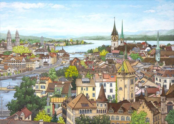 Zurich Rooftops - Illustration by Jonathan Chapman
