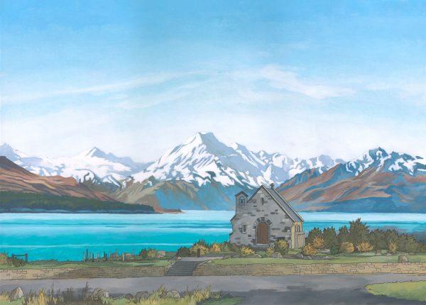 Lake Tekapo New Zealand Illustration by Jonathan Chapman