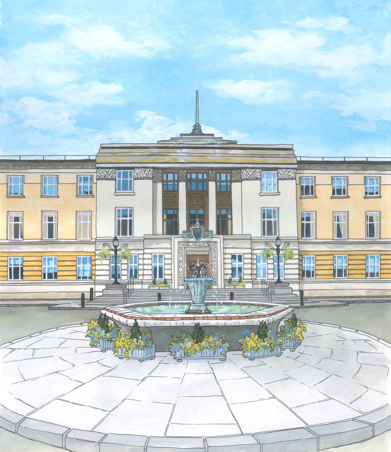 Wandsworth Town Hall Illustration by Jonathan Chapman