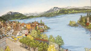 Zug Lakeside Commission Painting by Jonathan Chapman