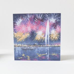 Geneva Fireworks Greeting Card - Illustration by Jonathan Chapman