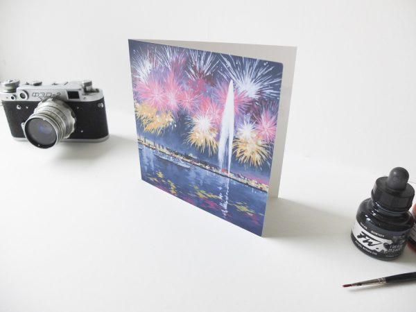 Geneva Fireworks Greeting Card - Illustration by Jonathan Chapman