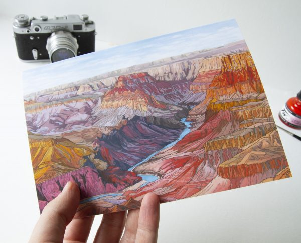 The Grand Canyon Greeting Card - Illustration by Jonathan Chapman
