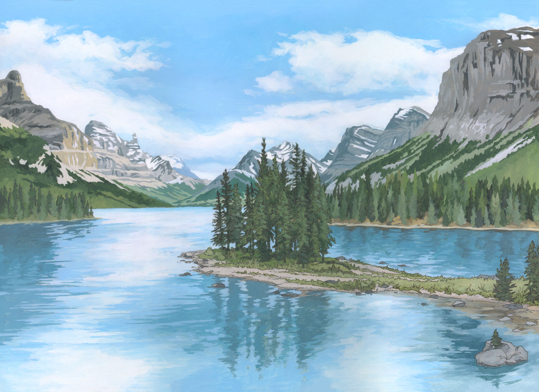 Spirit Island, Rocky Mountains, Canada - Illustration by Jonathan Chapman