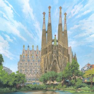 The Sagrada Familia, Barcelona - Illustration by Jonathan Chapman