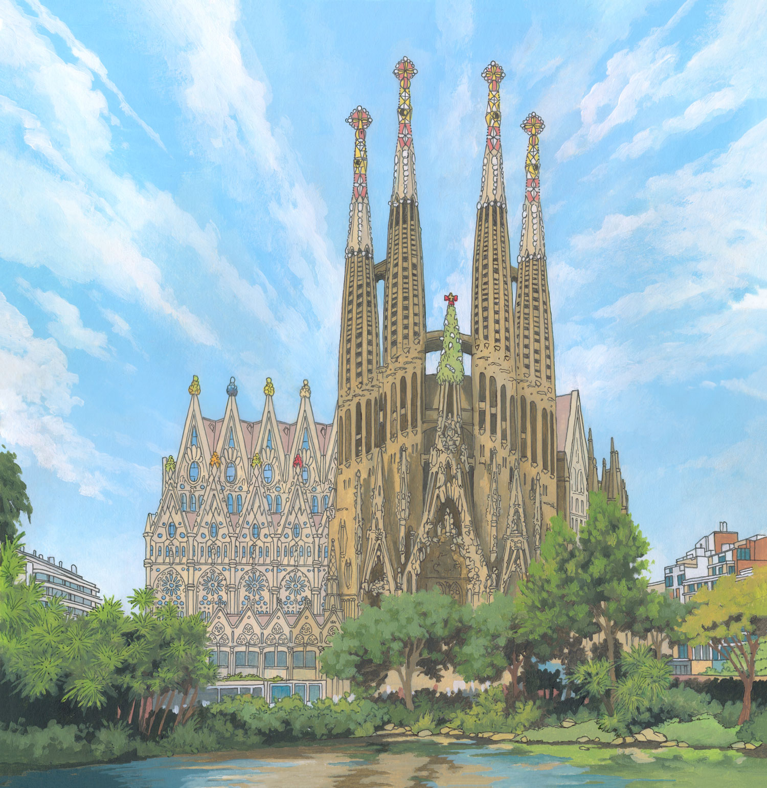 Sagrada Familia, Barcelona – Illustration by Jonathan Chapman