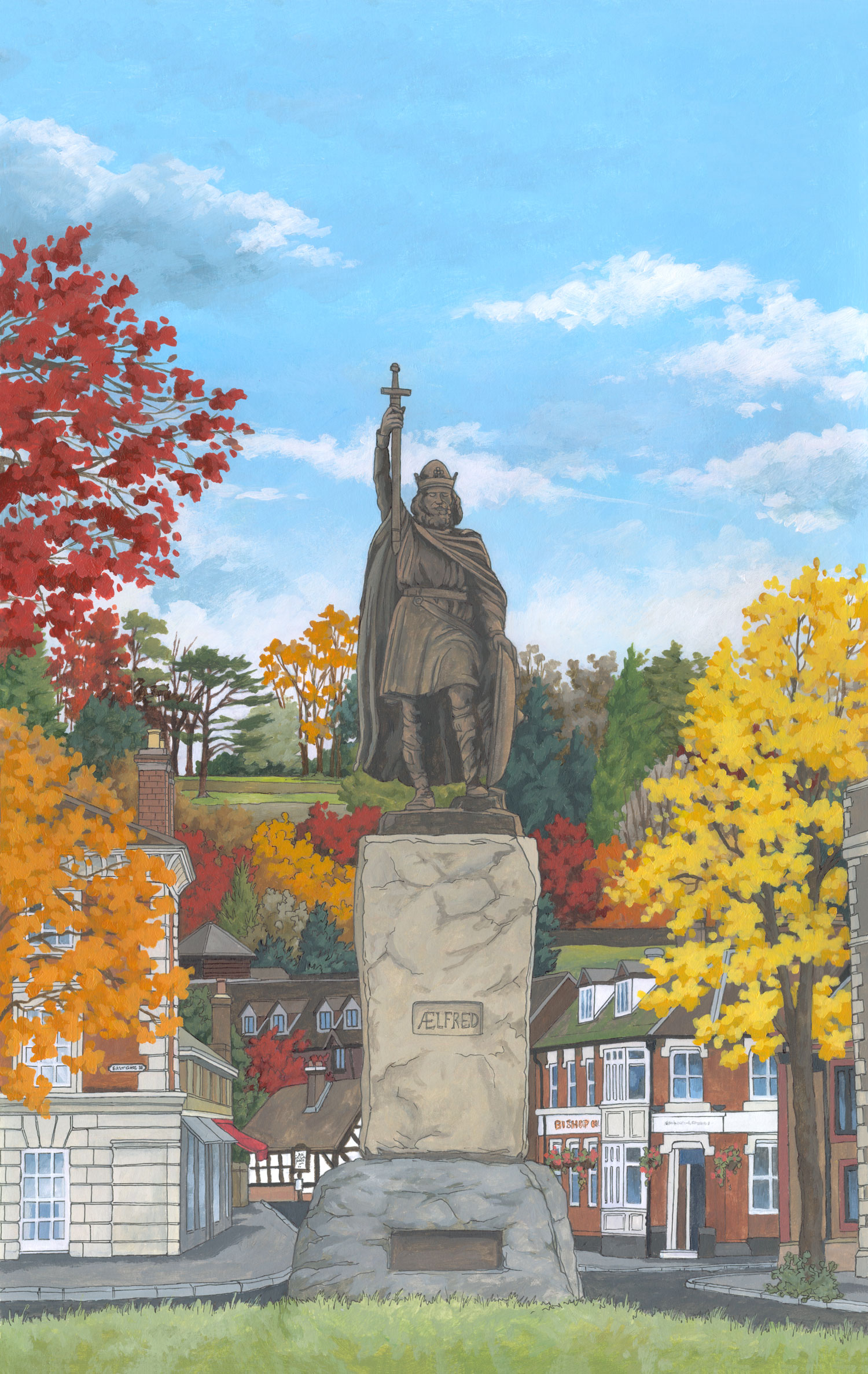 King Alfred in Autumn, Winchester - Illustration by Jonathan Chapman