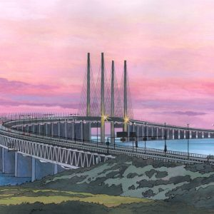 The Oresund Bridge - Illustration by Jonathan Chapman