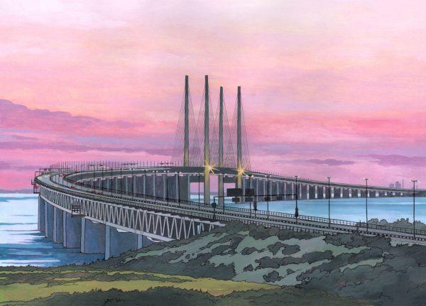 The Oresund Bridge - Illustration by Jonathan Chapman