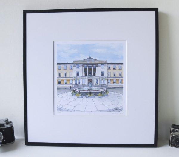 Wandsworth Town Hall Limited Edition Print - Illustration by Jonathan Chapman