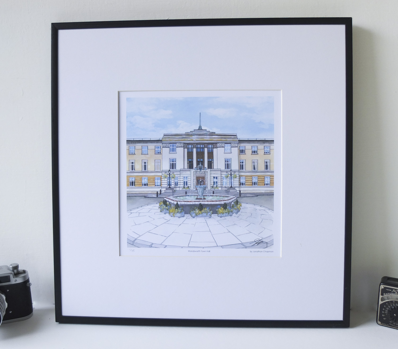 Wandsworth Town Hall Limited Edition Print – Illustration by Jonathan Chapman-2