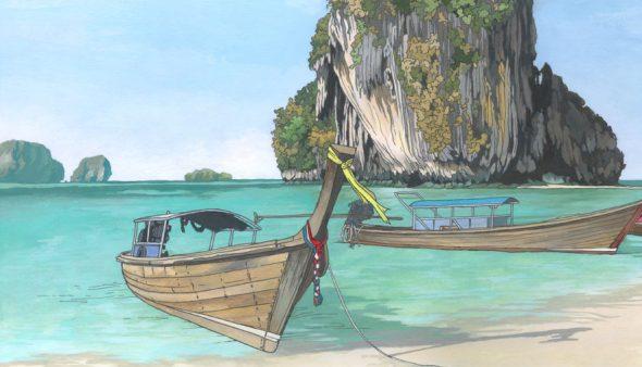 Railay Beach Thailand - Illustration by Jonathan Chapman