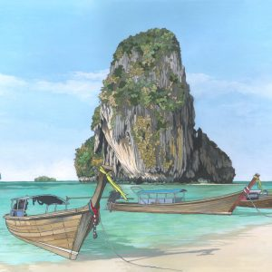 Railay Beach Thailand - Illustration by Jonathan Chapman