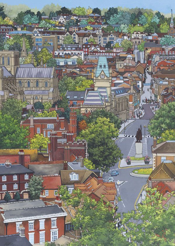 View From St Giles Hill Postcard - Illustration by Jonathan Chapman